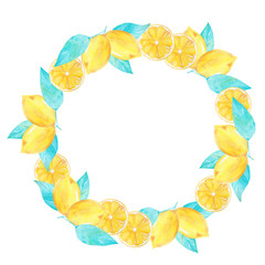 Watercolor hand painted lemon wreath. Perfect for invitations, decorations, cards, wallpapers.