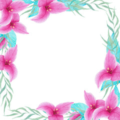 Hand painted watercolor bouganvillea flower frame border. Perfect for invitations, wedding, decorations, greeting cards, wallpapers.
