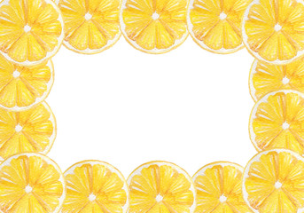Hand drawn watercolor lemon frame border. Perfect for wedding invitations, decorations, greeting cards.