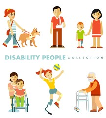 Disability people set in different situations. Young and elderly disabled persons - blind, in wheelchair, with prosthesis, walker isolated on white background