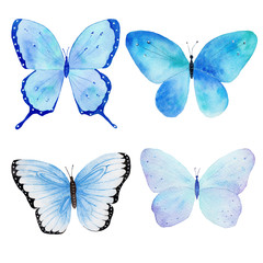 Watercolor handmade butterfly collection pattern. Can be used for greeting cards, invitations,logo,printing on fabric.