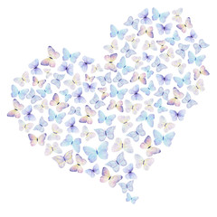 Watercolor hand drawn heart of butterflies on a white background. Ideal for greeting and love cards, wedding, packaging.