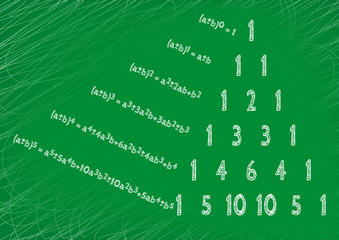 Theorem written by hand on a green board. Pascal's triangle.