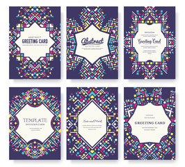 geometric abstract vector brochure cards set. ethnic style template of flyear, magazines, poster, book cover, banners. Active lifestyle invitation concept background. Layout illustration modern page