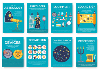 Astrology house brochure cards set. horoscope template of flyear, magazine, poster, book cover, banner. Science people with equipment invitation concept background. Layout scientist modern page