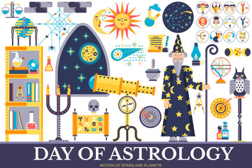 Astrology house icons design illustration set. Flat horoscope items concept. Vector illustration layout background