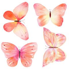 Set of colorful watercolor hand drawn butterflies.