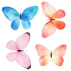 Watercolor hand painted collection of colorful butterflies on white background.