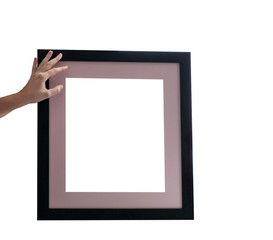 Picture frame on the white background. Frame and hand.
