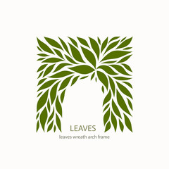 Green Leaflets Logo abstract design. Arch with Leaves sign. Floral decoration Symbol. Cosmetics and Spa