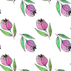 Seamless pattern with tulips flowers. Watercolor floral background. Seamless floral background. Pink wataercolor flowers. Fabric template.