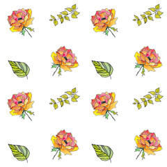Seamless floral pattern. Watercolor flowers. Floral background. Drawing background. Floral fabric template.