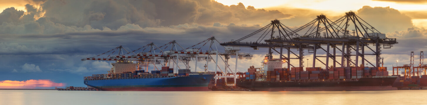 Panorama of logistic port with container loading and vessel