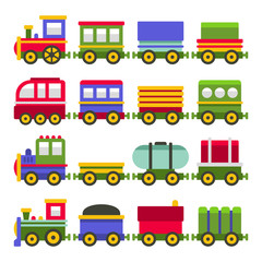 Cartoon Style ColorToy Railroad Train Set. Vector