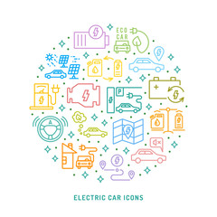 Electric car conceptual background