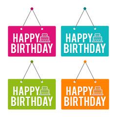 Happy Birthday with Icon hanging Door Sign. Eps10 Vector.