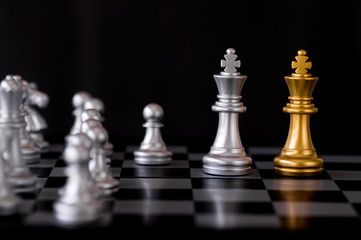 Queen chess set with enemy background.