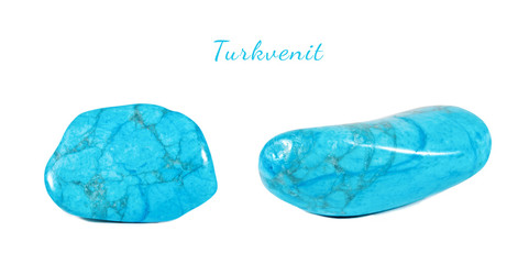 Macro shooting of natural gemstone. Natural mineral gem stone - turkvenit -blue howlite gemstone. Isolated object on a white background.