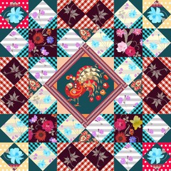 Patchwork pattern with peacock, zigzag frame and various flowers. Beautiful multicolor illustration.