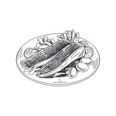 Beautiful vector hand drawn seafood Illustration.