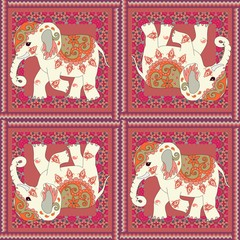 Tea packing or carpet with cute indian elephant, paisley and zigzag frame. Beautiful ethnic illustration.