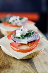 Tasty sandwiches with tomato
