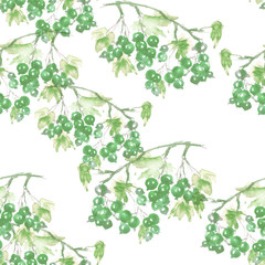 Seamless watercolor background with an even branch of currant, berries, Green grapes, leaves. Beautiful vintage floral pattern. Green branch with berries of currant. For textiles, paper, design.