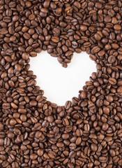 Heart made inside coffee beans
