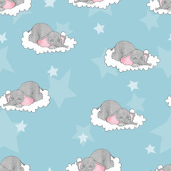 Seamless pattern with cute sleeping baby elephants on the clouds. Vector background for kids