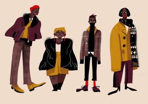 Illustration depicting fashionable people