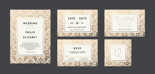 Vintage Wedding Invitation collection. Modern design