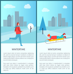 Wintertime Activities Banner Vector Illustration
