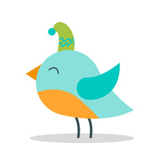Bird with Closed Eyes on Vector Illustration