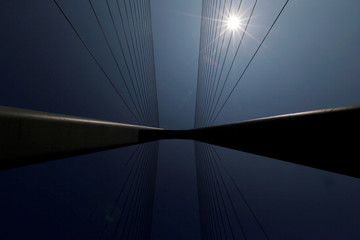 Steel cables are used at a section of the Hong Kong-Zhuhai-Macau bridge in Zhuhai