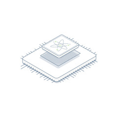 CPU processor and socket. Computer microchip with atom logo. Circuit with line legs. Thin modern processor and 3d isometric effect.