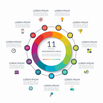 Infographic circle. 11 options, steps, parts. Business concept for diagram, graph, chart. Vector template
