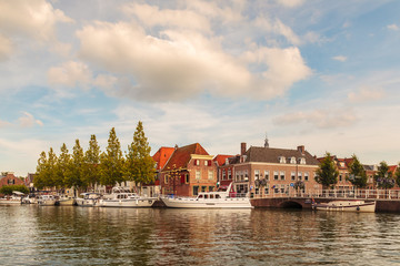 View at the historic harbor of the city of Weesp