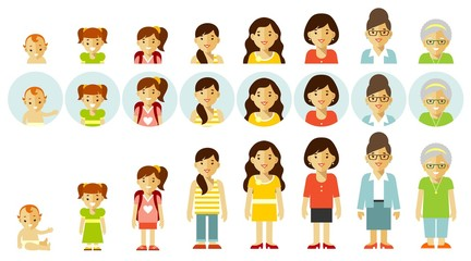 Set of people generations at different ages. Woman aging - baby, child, teenager, young, adult, old. Full length and avatars. Vector illustration in flat style isolated on white background.