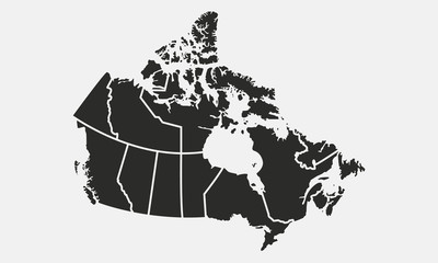 Map of the Canada with provinces and territories isolated on a white background. Vector illustration Fototapete