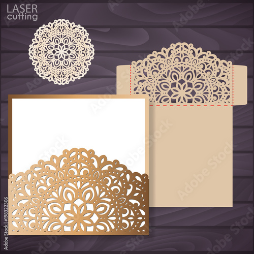 Die Laser Cut Wedding Card Vector Template Invitation Envelope - Wedding invitation envelope template free