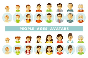 Set of people generations avatars at different ages. Man and woman aging icons - baby, child, teenager, young, adult, old. Vector illustration in flat style isolated on white background.