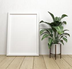 Blank paper frames in interior.Mock up white frame. Mock-up.
