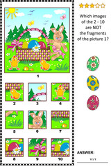 Easter holiday themed visual logic puzzle with Easter bunny, eggs, chicks and basket: What of the 2 - 10 are not the fragments of the picture 1? Answer included.