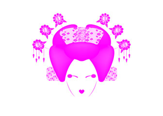 Geisha Portrait of Japanese or asian girl, traditional style with Japanese hairstyle, madama butterfly doll, Chinese or Japanese culture, beautiful pink fashion vector illustration white background