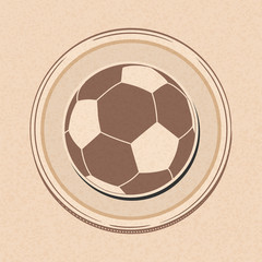 Football soccer ball drawing style on brown paper