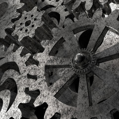 Gears and cogs macro illustration 3d