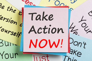 Take Action Now written on note