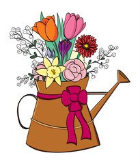 Spring flower arrangement in a copper watering can.