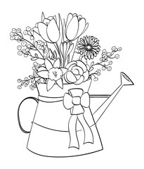 Spring flower arrangement in a watering can - outline