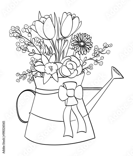 Spring flower arrangement in a watering can outline stock image spring flower arrangement in a watering can outline mightylinksfo